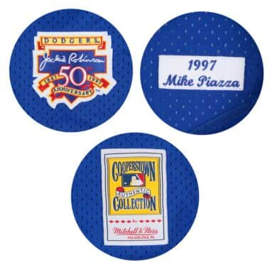 Mitchell /& Ness Mike Piazza 1997 Authentic Mesh BP Jersey Los Angeles Dodgers