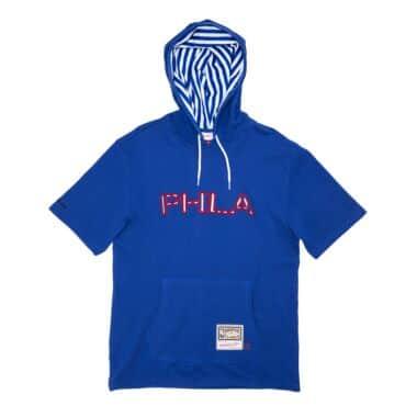 Striped Logo Short Sleeve Hoodie Philadelphia 76ers