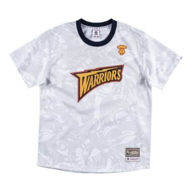 MITCHELL AND NESS GOLDEN STATE WARRIORS OLYMPIC USA FLAG T-SHIRT GRAY