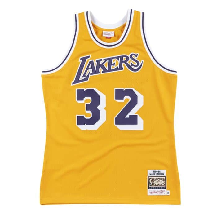 Authentic Jersey Los Angeles Lakers Home 1984-85 Magic Johnson