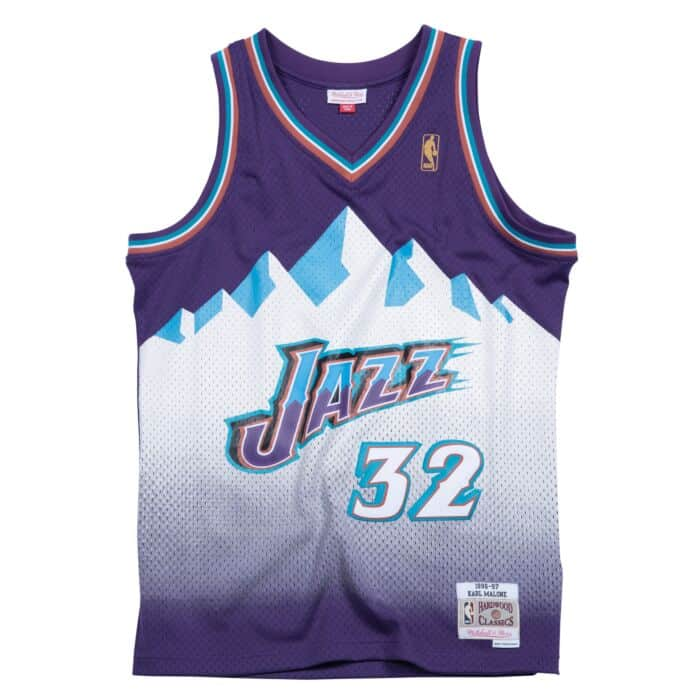 save off 079b2 d1c27 Karl Malone 1996-97 Road Utah Jazz Swingman Jersey Mitchell ...