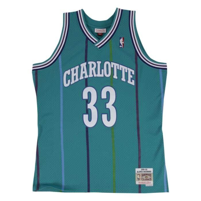 newest d5b93 b3fe5 Alonzo Mourning Swingman Jersey 1992-93 Charlotte Hornets ...