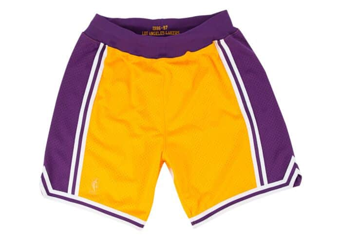 Mitchell /& Ness Mens Lakers Swingman Shorts Gold//Purple
