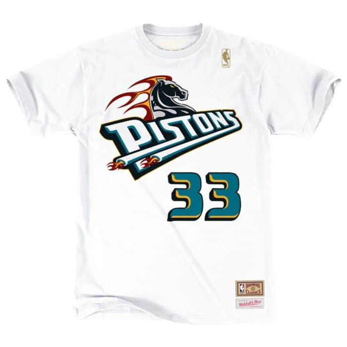 meet db3aa 3a2a4 Grant Hill Name & Number Tee Detroit Pistons Mitchell & Ness ...