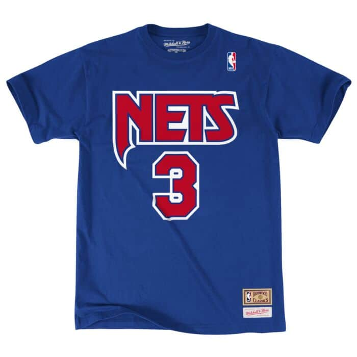 best service eef8c 7c1a3 Drazen Petrovic Name & Number Tee New Jersey Nets Mitchell ...