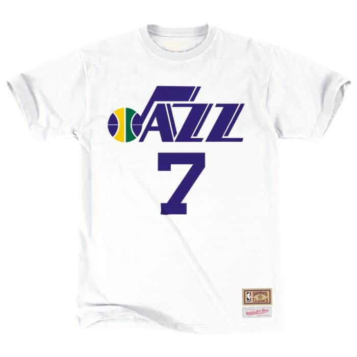 online store e78c0 b0798 Pete Maravich Name & Number Tee Utah Jazz Mitchell & Ness ...