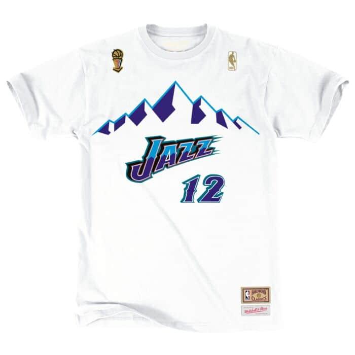first rate 76ac3 eac69 John Stockton Name & Number Tee Utah Jazz Mitchell & Ness ...