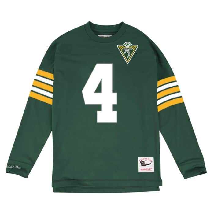 watch 6f3a6 6a90d Brett Favre Name & Number Longsleeve Tee Green Bay Packers ...
