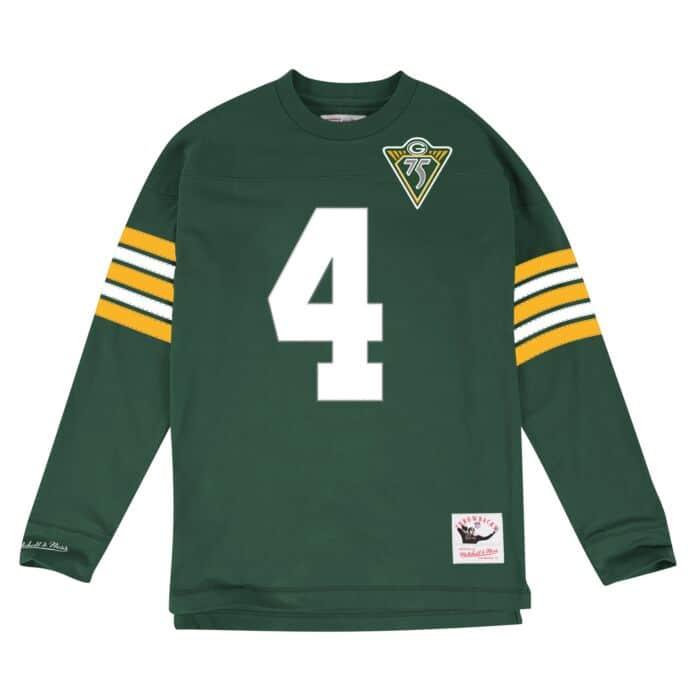 48688079 Brett Favre Name & Number Longsleeve Tee Green Bay Packers