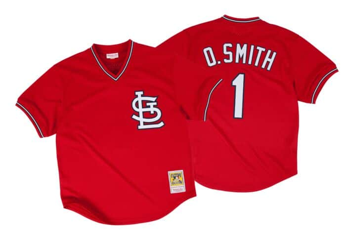 cheap for discount 55b81 03f29 Ozzie Smith 1996 Authentic Mesh BP Jersey St. Louis Cardinals