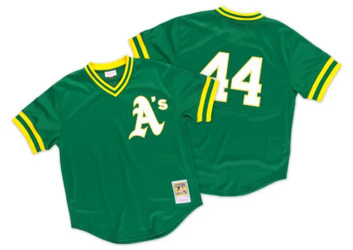 new product f241d 57ee5 Reggie Jackson 1987 Authentic Mesh BP Jersey Oakland Athletics