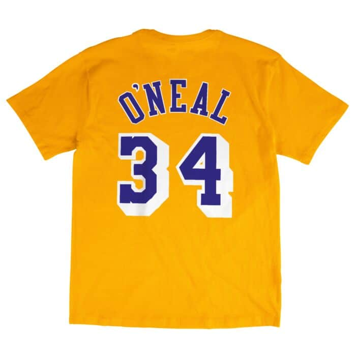 new product d15f4 f49af Name & Number Tee Los Angeles Lakers Shaquille O'Neal