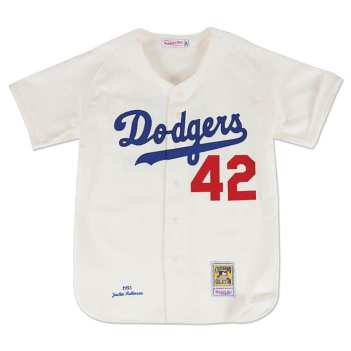 official photos 1e432 d30ae Authentic Jersey Brooklyn Dodgers Home 1955 Jackie Robinson