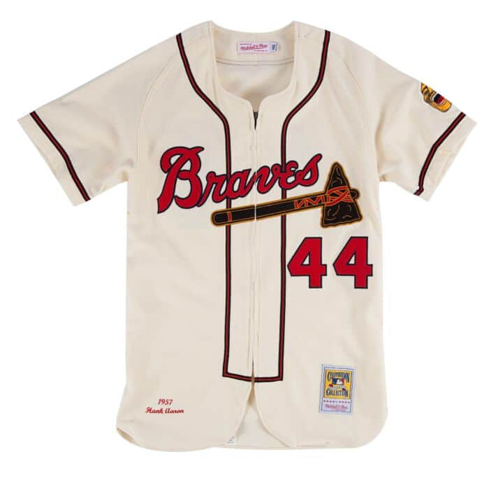 reputable site 1ee7e 8304a Hank Aaron 1957 Authentic Jersey Milwaukee Braves Mitchell ...