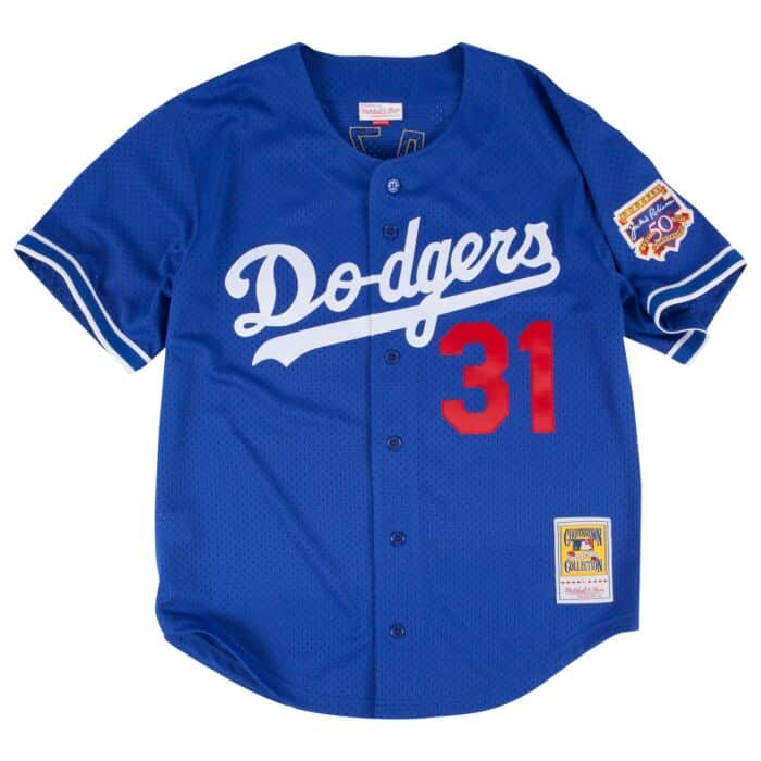 new style e1ca4 d7ecc Mike Piazza 1997 Authentic Mesh BP Jersey Los Angeles Dodgers