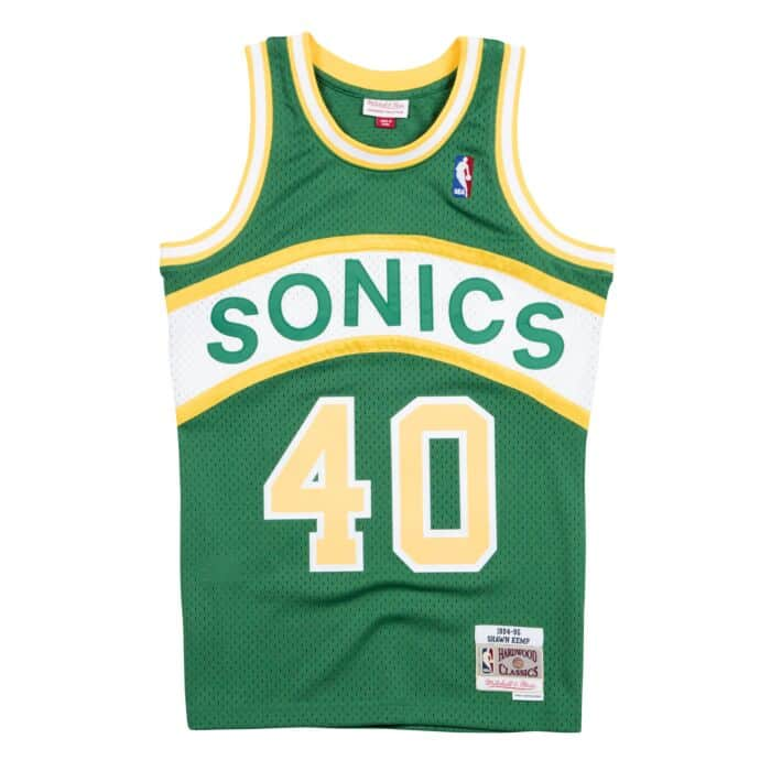 various colors 6564d 2e051 Shawn Kemp 1994-95 Seattle Supersonics Road Swingman Jersey ...