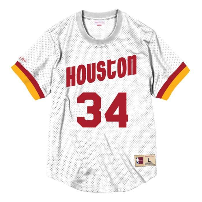 hot sale online 02bde 73260 Hakeem Olajuwon Name & Number Mesh Crewneck Houston Rockets ...