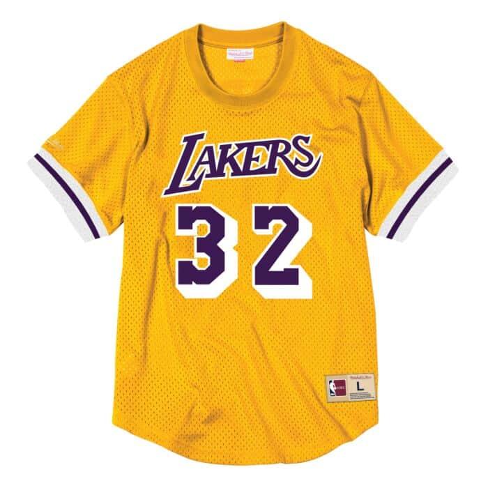 new product fe0ac 64030 Magic Johnson Name & Number Mesh Crewneck Los Angeles Lakers ...