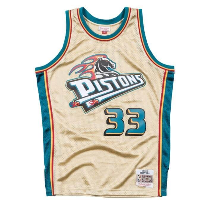 pretty nice 869e8 fc70a Grant Hill Gold Swingman Jersey Detroit Pistons Mitchell ...