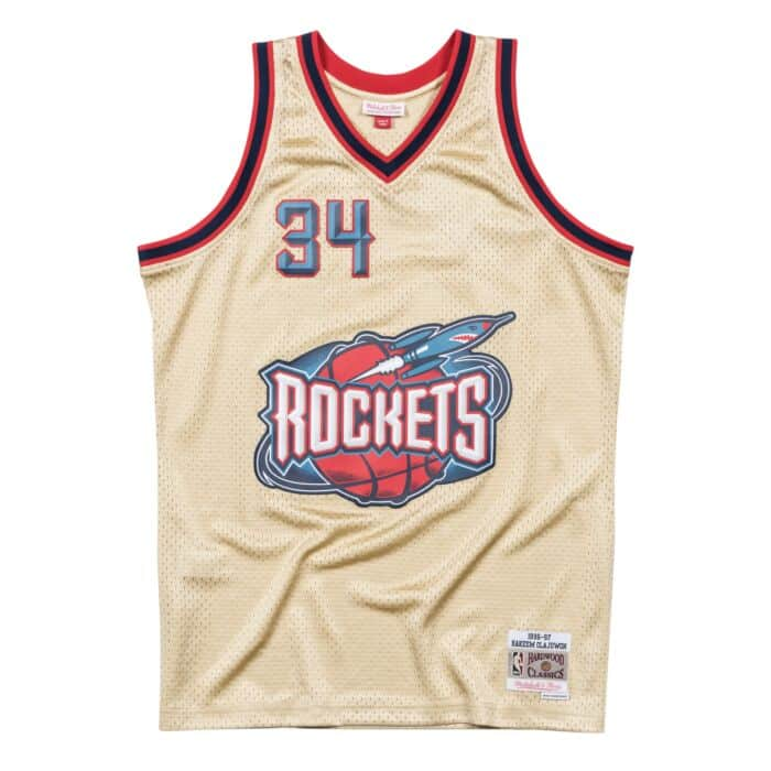 newest 0f91e 703c0 Hakeem Olajuwon Gold Swingman Jersey Houston Rockets ...