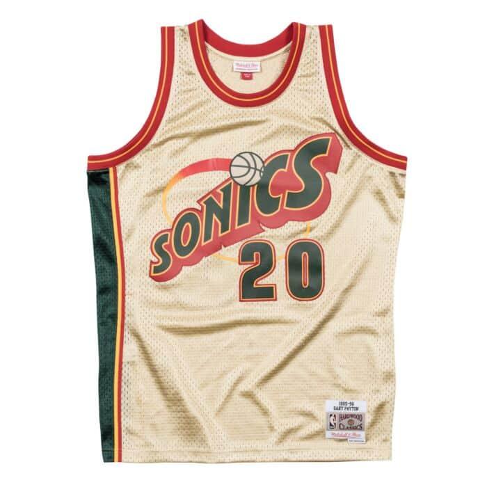 huge discount bf9e9 88fea Gary Payton Gold Swingman Jersey Seattle Supersonics ...