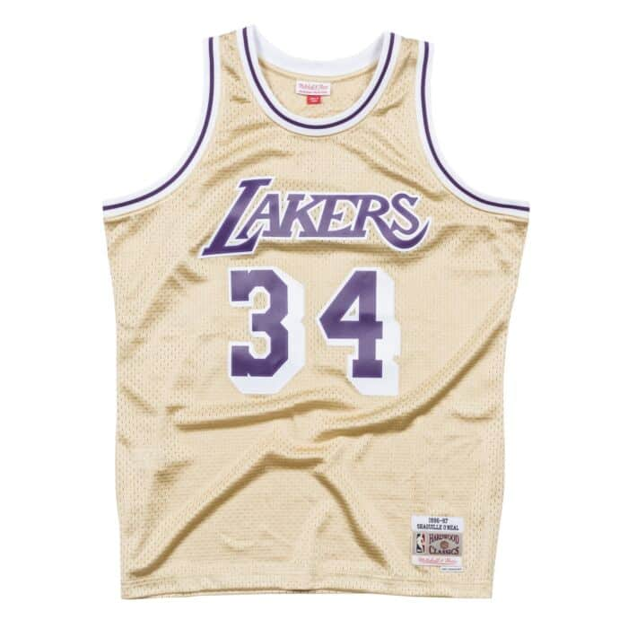 quality design e1fbd 2459b Shaquille O'Neal Gold Swingman Jersey Los Angeles Lakers ...