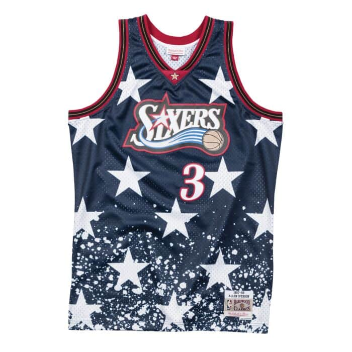 new concept 92d18 81491 Allen Iverson 1997 Philadelphia 76ers 4th of July Swingman ...