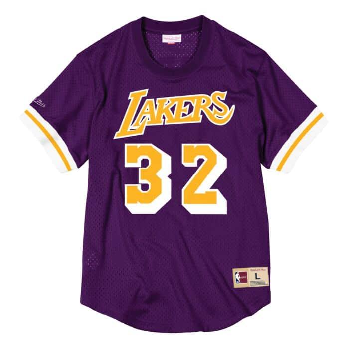 Magic Johnson Name & Number Mesh Crewneck Los Angeles Lakers