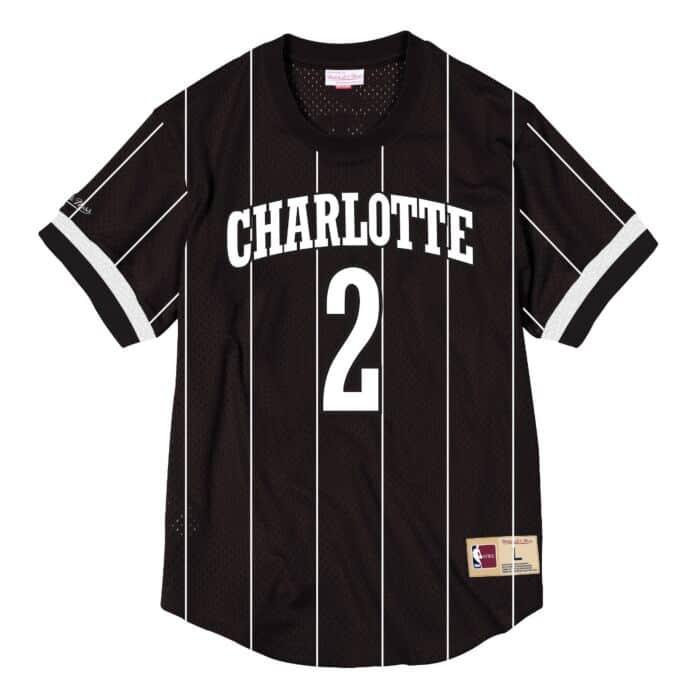 super popular 1e391 f6073 Larry Johnson Name & Number Mesh Crewneck Charlotte Hornets