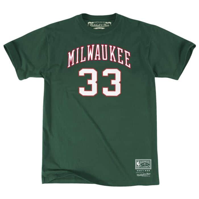 online retailer 7462b 75d26 Name & Number Tee Milwaukee Bucks Kareem Abdul-Jabbar