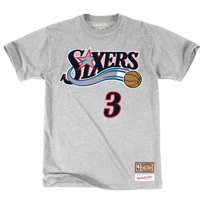 wholesale dealer 04219 b363d Name & Number Tee Philadelphia 76ers Allen Iverson