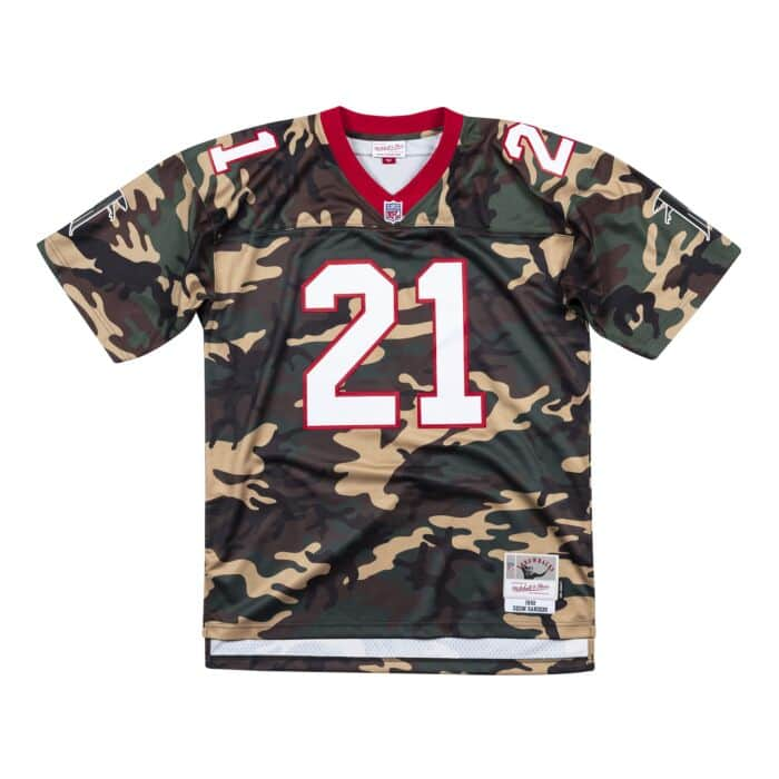 brand new e7157 14797 Woodland Camo Legacy Jersey Atlanta Falcons 1992 Deion Sanders