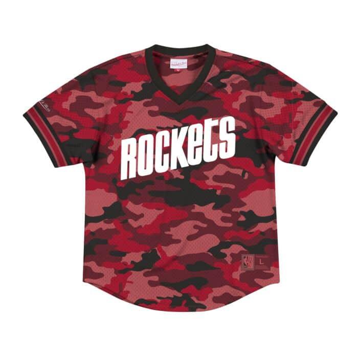 47aa26850 Camo Mesh V-Neck Houston Rockets