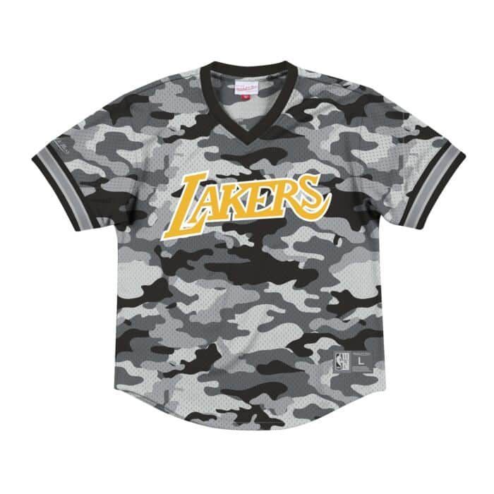 wholesale dealer 145f1 db753 Camo Mesh V-Neck Los Angeles Lakers