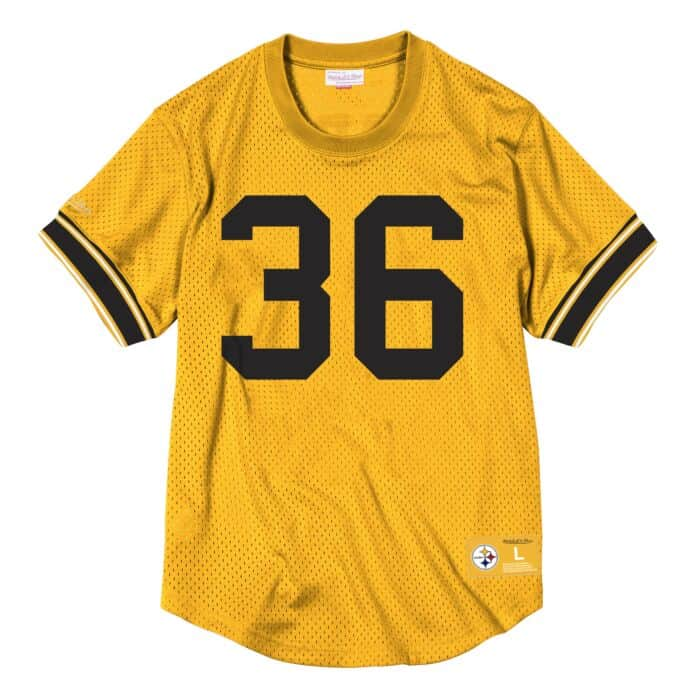 online store 73e48 3c6c5 Name & Number Mesh Crew Neck Pittsburgh Steelers Jerome Bettis