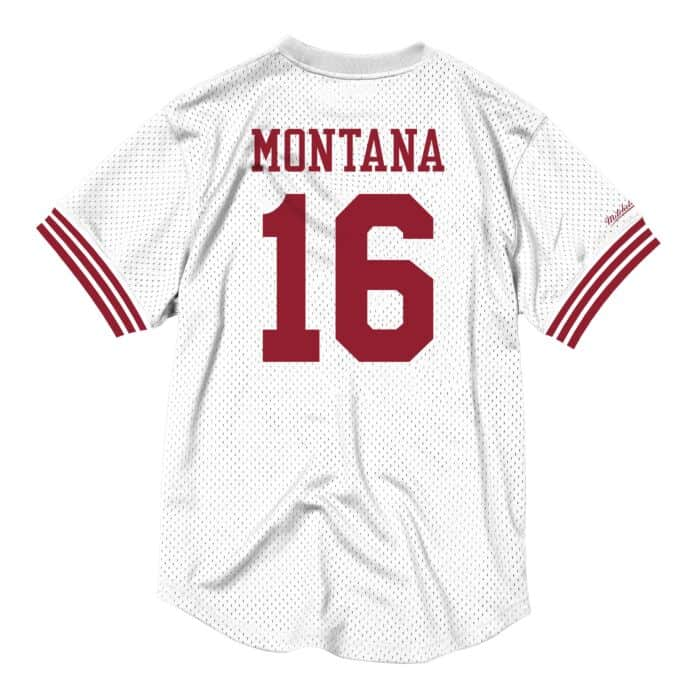 best sneakers 84927 8ddfd Name & Number Mesh Crew Neck San Francisco 49ers Joe Montana
